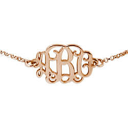 18K Rose Gold Plated Monogram Bracelet