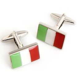 Italian Flag Cufflinks with Personalized Case