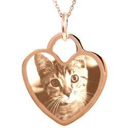Custom Photo Rose Gold Vermeil Heart Pendant