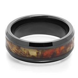 Engraved Buck Black Ceramic Camouflage Ring