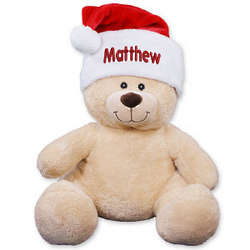 Embroidered Santa Hat Teddy Bear