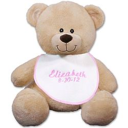Personalized Teddy Bear with Embroidered Pink Baby Bib