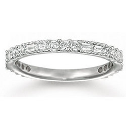 Diamond Stackable Ring Milgrain Deco Anniversary Eternity Band
