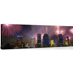 Fireworks Over City Buildings in Houston, Texas