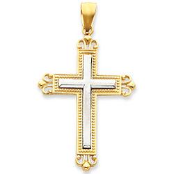 14k Two-Tone Shining Fleur de Lis Cross Pendant