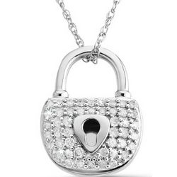Diamond Padlock Pendant Necklace