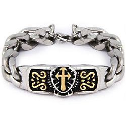 Linked Steel with Cross Bracelet
