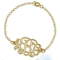 Gold Plated Monogram Necklace and Bracelet