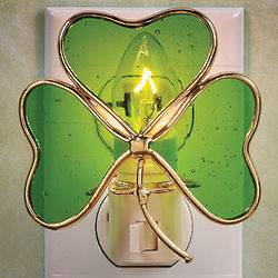 Stained Glass Shamrock Night Light