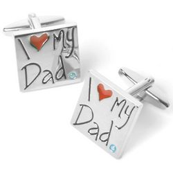 I Love My Dad Cufflinks with Personalized Case