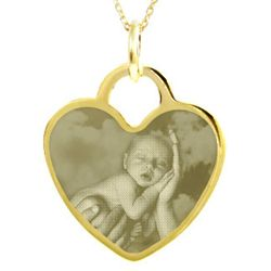Custom Photo Gold Vermeil Heart Pendant