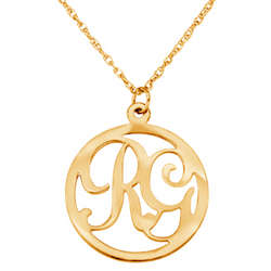 Gold-Plated Two Personalized Initials Circle Necklace