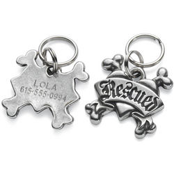 Rescued Personalized Pewter Pet Tag