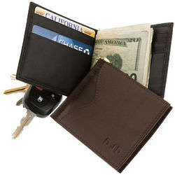 Personalized Nappa Leather Cash Clip Wallet with Outside Pocket