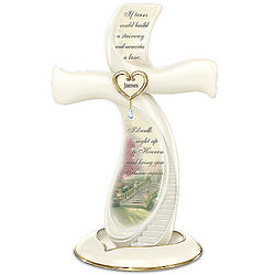 Thomas Kinkade Memories of Love Personalized Cross Figurine