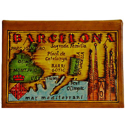 Barcelona Map Leather Photo Album