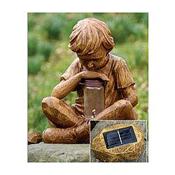 Boy with Fireflies Solar Garden Sculpture