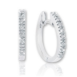 "14k White Gold 1/8 Carat Diamond 1/2"" Huggie Earrings"