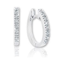 """14k White Gold 1/8 Carat Diamond 1/2"""" Huggie Earrings"""