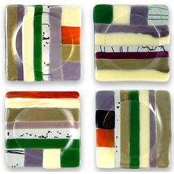 Earth-Tone Fused Glass Coasters