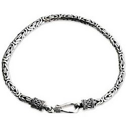 Borobudur Collection I Sterling Silver Chain Men's Bracelet