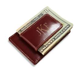 Monogrammed Brown Leather Card Holder with Money Clip