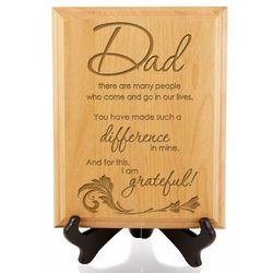 Dad You Make A Difference Wooden Plaque and Stand