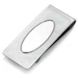 Sterling Silver Folded Grip Money Clip with Oval Engraving Shield