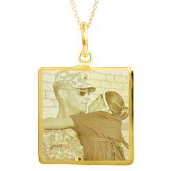 Custom Photo Gold Vermeil Square Pendant