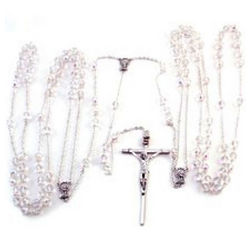 Wedding Lasso Rosary with Crystal Beads and Silver Chain