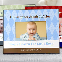 Classic Argyle Personalized Baby Frame