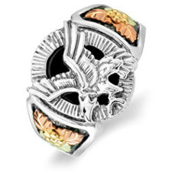 Western Gold Onyx Eagle Ring