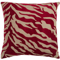Red and Beige Animal Print Decorative Pillow