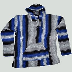 Blue and Gray Stripe Baja Hoodie