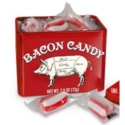 Bacon Flavored Candy in Whimsical Tin