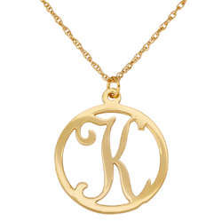 Personalized Single Initial Gold-Plated Circle Necklace