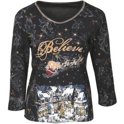 Believe Women's Santa Long Sleeve T-Shirt