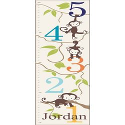 Boy's Personalized Monkeying Around Canvas Growth Chart