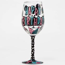 Happy Birthday Party Hats Wine Glass