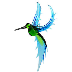 Exotic Hummingbird Hanging Art Glass Figurine
