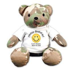 Personalized Happy Birthday Camo Teddy Bear