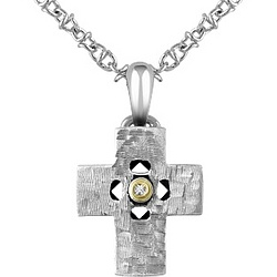 Diamond and Hammered Stainless Steel Cross Pendant Necklace