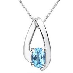 Blue Topaz Loop Pendant Necklace in 10K White Gold