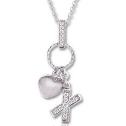 14k White Gold Diamond Hugs and Kisses Necklace