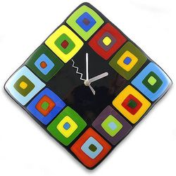 Contemporary Multicolor Glass Wall Clock