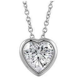 Sterling Silver Bezel-Set Heart Cubic Zirconia Necklace