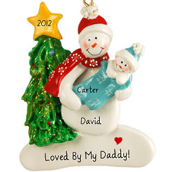 First Christmas as a Dad Snowman and Baby Boy Ornament