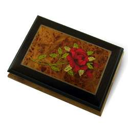 Red Rose Rosewood Frame Musical Jewelry Box