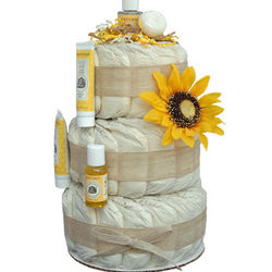 Little Sunflower 3 Tier Organic Diaper Cake