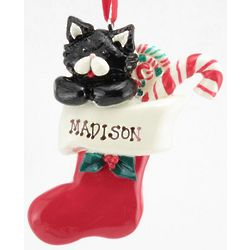 Personalized Black Kitty in a Stocking Ornament